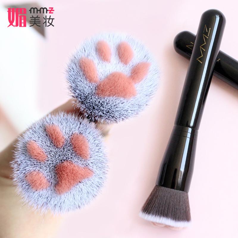 New girl heart lovely adorable cat claw meat pad, fiber hair flat head liquid foundation brush powder powder brush BB cream makeup brush