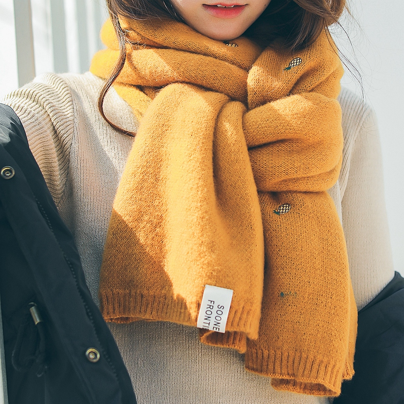 冬季百搭可爱日系毛线围巾,送女生实用小物