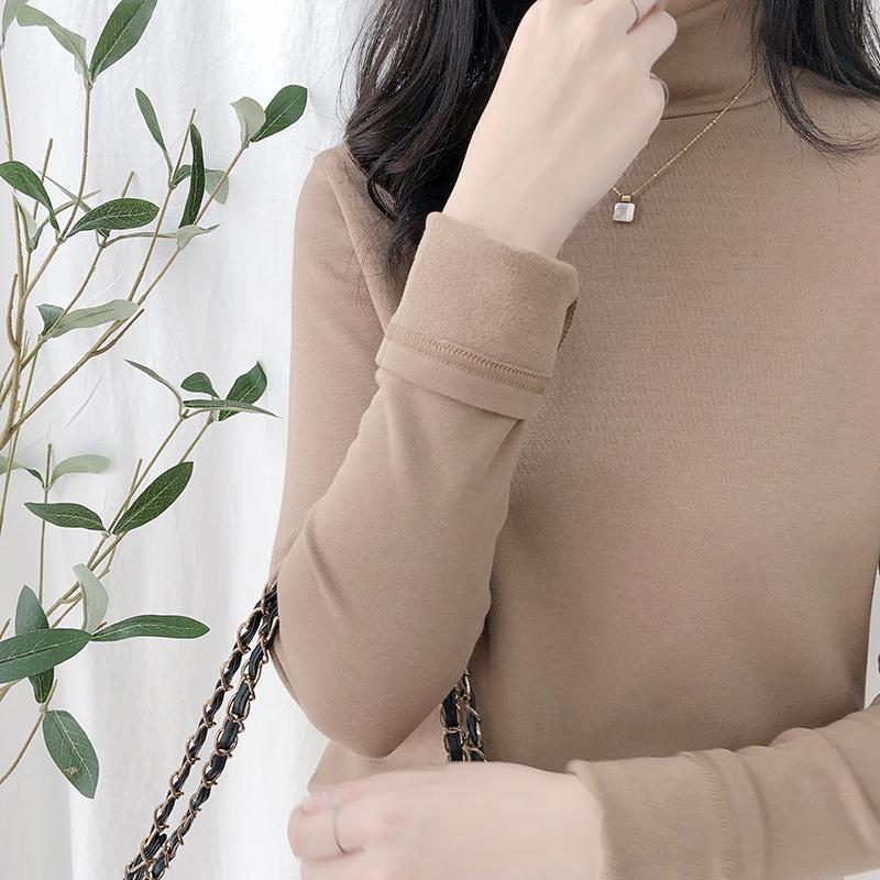 雅宿 冬季新款薄绒半高领T恤打底衫女德绒自发热保暖纯色上衣pk92