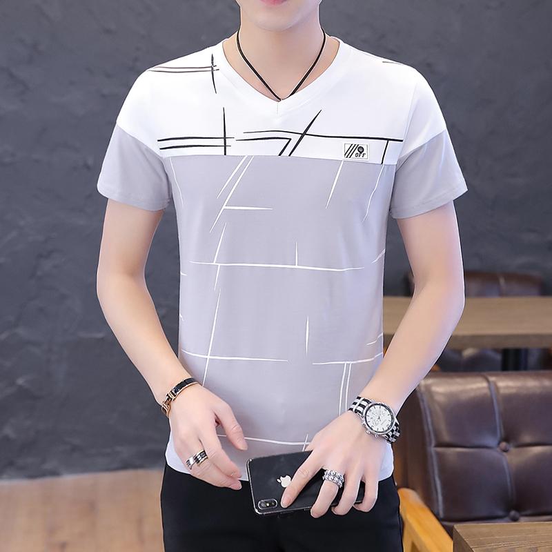 夏季短袖T恤男圆领学生外贸多线条纹商务卫衣男拼接灰色781P22