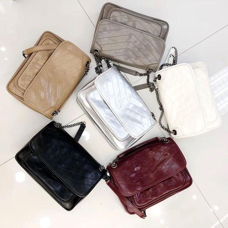 Postman bag 2018 new chain bag Single Shoulder Messenger Bag Retro Leather oil wax leather fold Niki leather womens bag