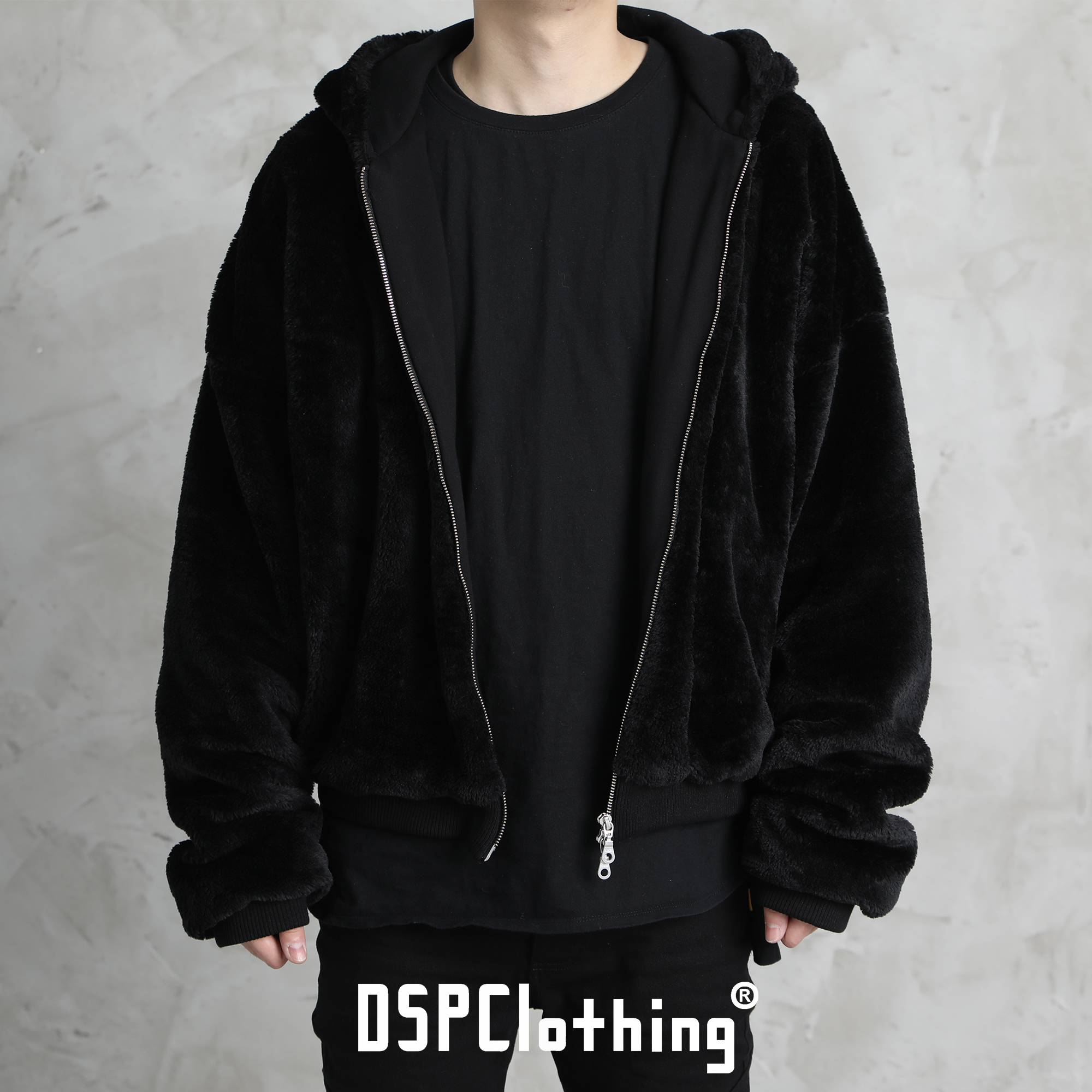 Dspprinting black man-made wool jacket / Cotton Lined loose jacket coat