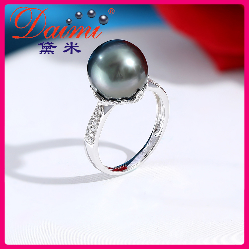 Demi Jewelry Ruishuo 11-12mm round, strong and shiny Tahitian black pearl ring, 18K gold and diamond ring