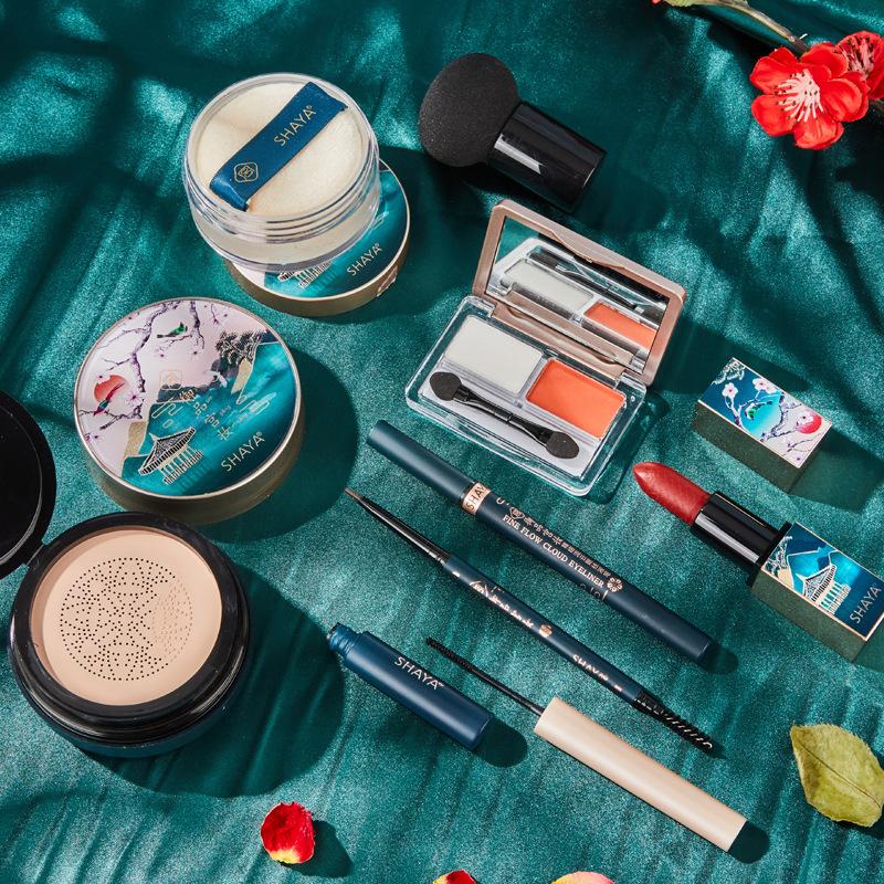 19#莎雅宫廷风彩妆套装雕花口红睫毛膏蘑菇气垫BB霜眼线笔化妆品