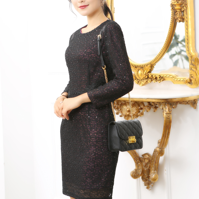 Shengruijin new lace dress 2021 spring and summer fashion slim temperament knee bottomed medium length skirt