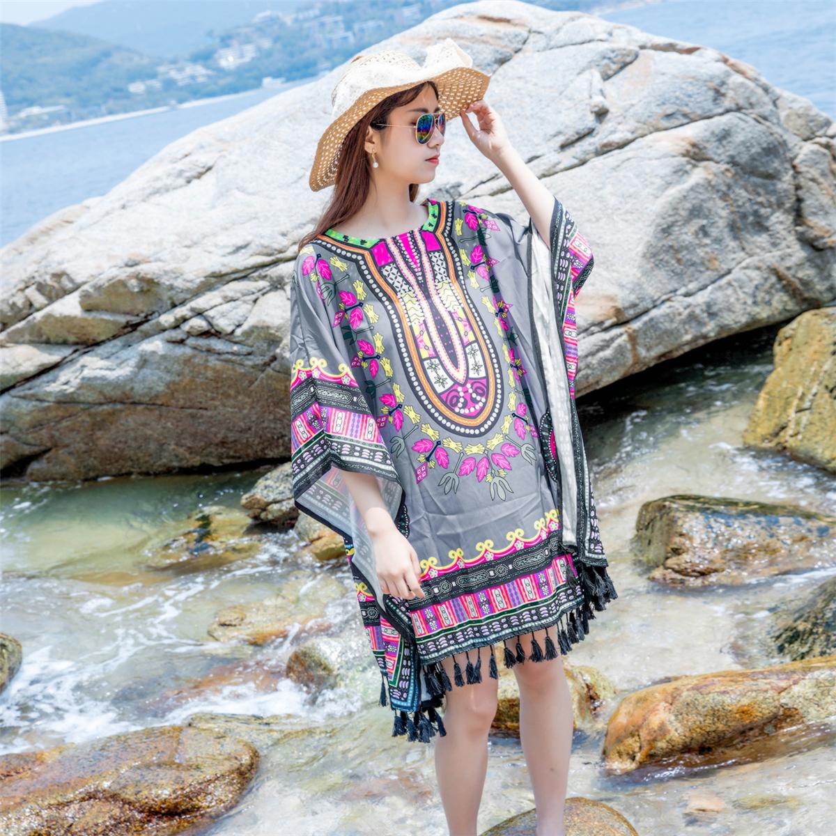 0801#泰国女装长裙夏季波西米亚连衣裙巴厘岛海边海滩度假沙滩裙