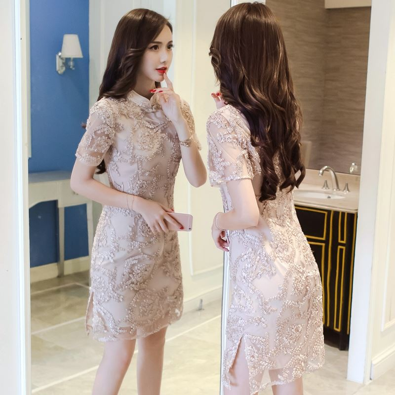 Improved cheongsam-style lace dress 2020 new women's summer long style Chinese style