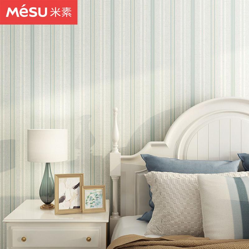 米素美式乡村纯纸壁纸竖条纹卧室客厅墙纸电视背景墙环保 卡恩斯