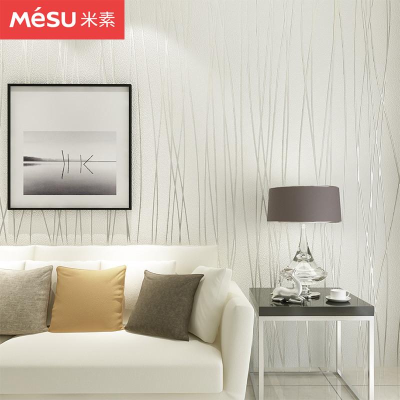 米素 电视背景墙壁纸无纺布客厅墙纸卧室条纹简约现代 月光森林X