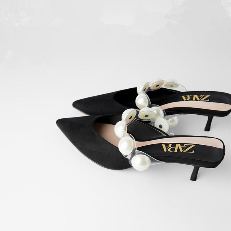 ZARA DTM女鞋2020年新款细跟高跟穆勒鞋黑色珍珠尖头半拖凉鞋女