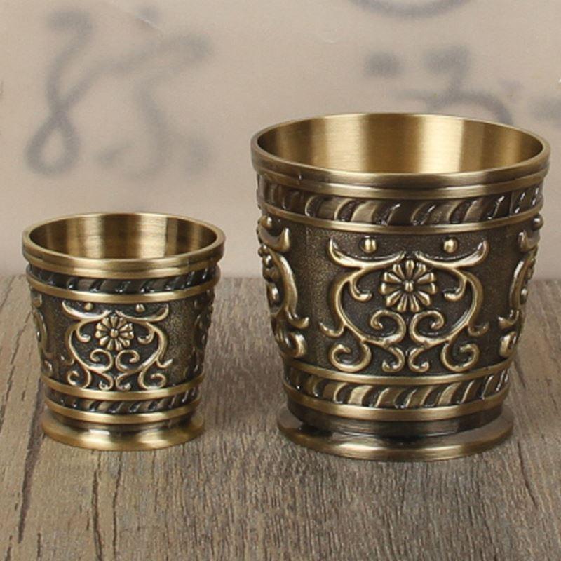 浮雕花纹小酒杯高档白酒杯中国风酒具家用 个性中式婚礼合卺酒杯