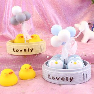 蒸笼小物摆件卡通企鹅可爱小鸭子气球树脂摆件家居装饰品学生礼物