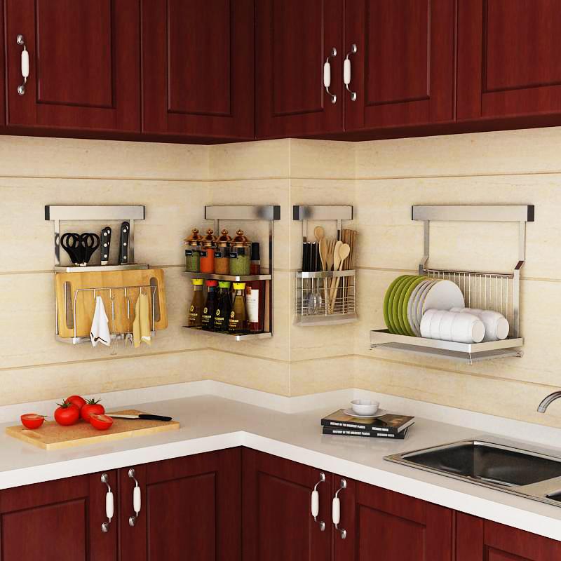 免打孔厨房置物架壁挂式不锈钢墙上转角收纳刀架放碗架家用沥水架(非品牌)