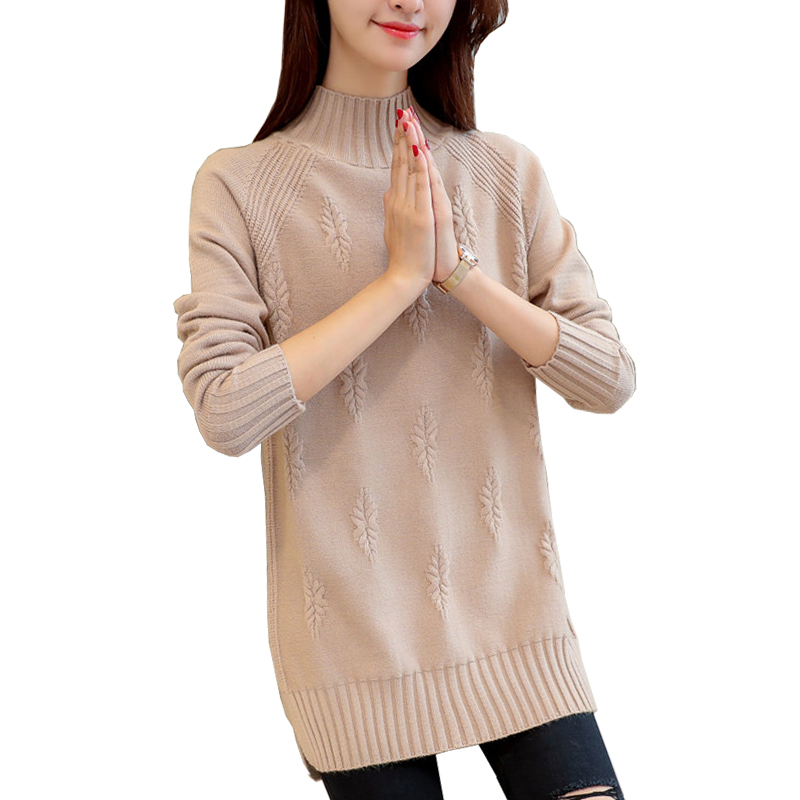 Autumn and winter half high neck medium length thickened cashmere sweater womens sweater wool knitting bottom coat fat sister dress