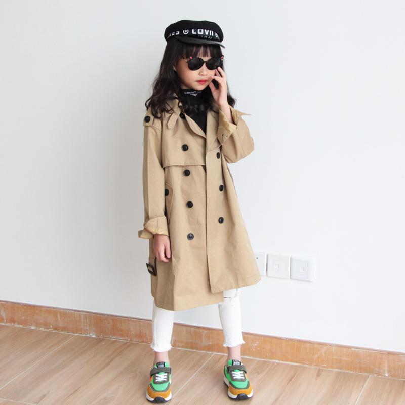 女童双排扣风衣 2020秋冬新款韩版洋气中大童外套 时尚经典潮童装