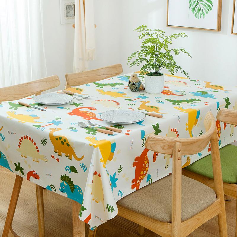 (用10元券)田园可爱恐龙餐桌布艺儿童帆布台布