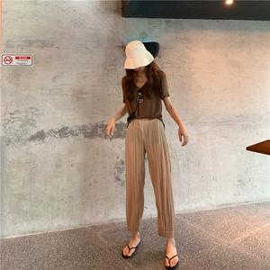 售價加5 實拍實價~純色短袖T恤+百褶奶奶褲九分褲 2020#2031#