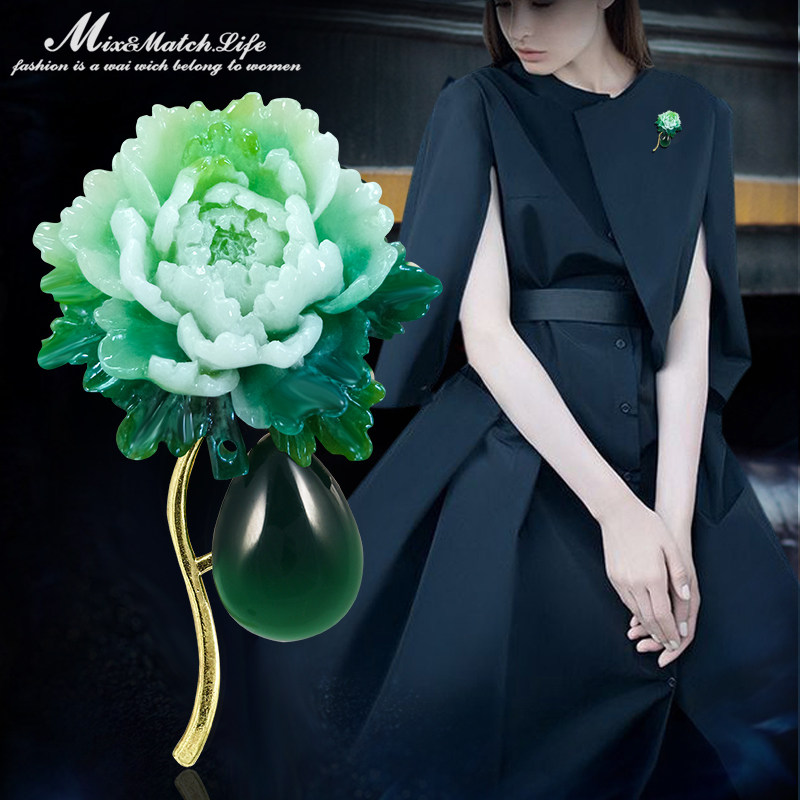 Korean womens fashion Princess Kate Brooch Chinese style peony flower pin versatile brooch pendant accessories