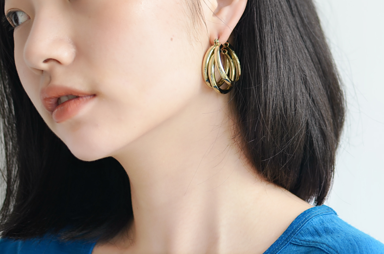 Export spot gold new European and American multilayer metal Earrings recommended by luvaj Gigi Kendall