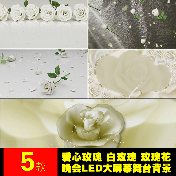 Love wedding stage performance party large screen background white rose petals falling LED video material