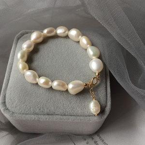 14k金巴洛克珍珠手链女天然珍珠气质简约复古小众设计冷淡风手镯