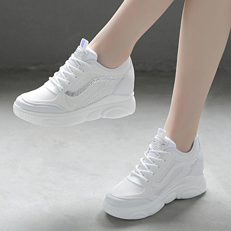 春夏运动鞋女2020新款鞋子网面内增高小白鞋透气女鞋白色休闲网鞋