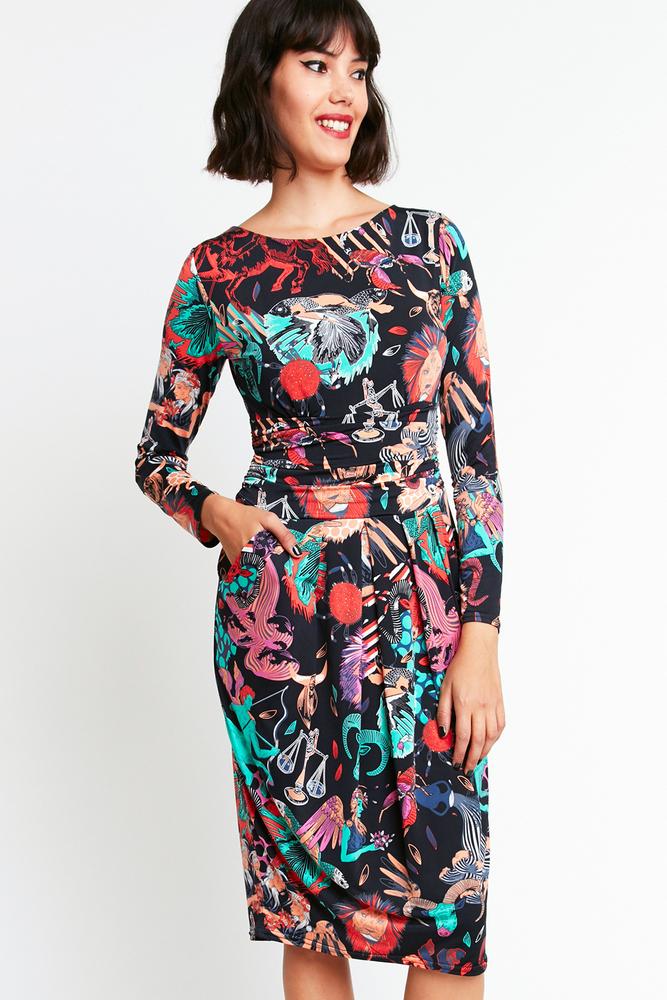 英国 ONJENU 甜美可爱显瘦裹身裙连衣裙 12星座图案印花 法国制