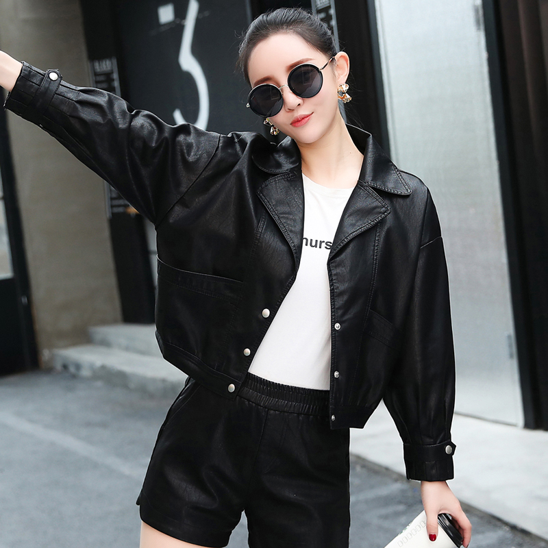 Painting art is more fashionable than casual leather clothing women's 2020 spring clothing new Korean loose leather coat short leather jacket