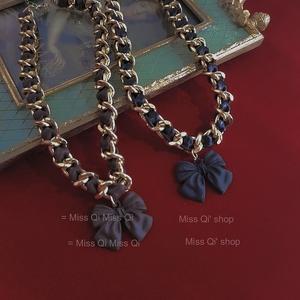 棕色蝴蝶结项链穿插皮绳宽链条短链网红潮人直播配饰个性饰品