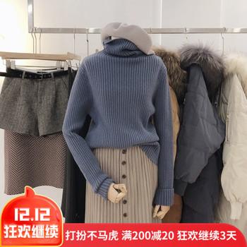 2018秋冬新款高领直筒羊毛混纺套头宽松慵懒毛衣女打底衫长袖子