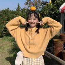 2020秋季韩版学院风甜美减龄纯色宽松连帽纹路保暖毛衣陆小团团