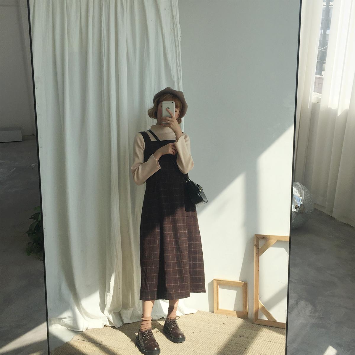 Земля небольшой группа группа корейская новая версия продукты в длинная модель сетка ремень платье женщин институт ветер дикий простой строп платье