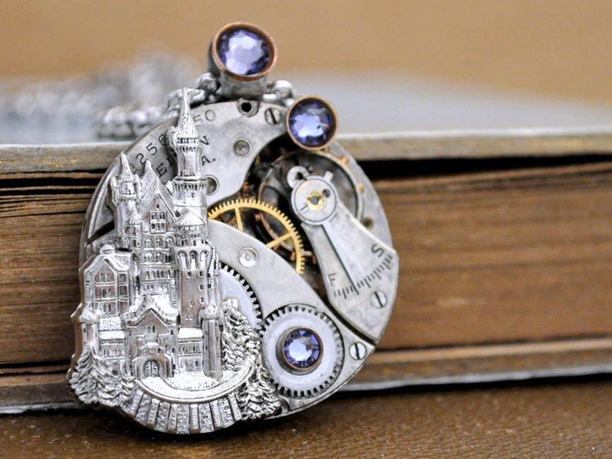 定制。美国1920s Elgin古董表芯童话城堡梦幻迪士尼项链蒸汽朋克