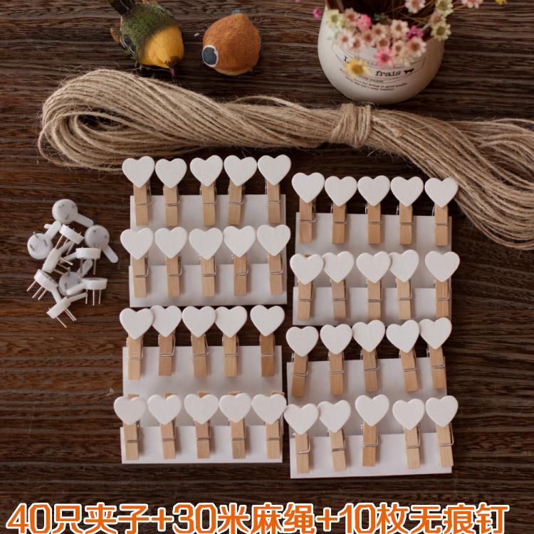 包邮 麻绳照片墙小夹子 白色心形木头夹子 创意木质相片夹装饰绳