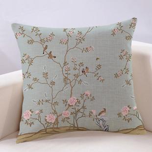 新中式抱枕现代红木沙发靠垫客厅大靠背花鸟图棉麻中国风古典靠枕