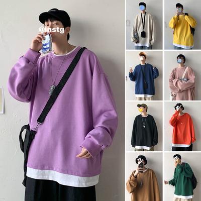 F01 P40 控55 20/春 韩版假两件纯色棉卫衣 男宽松情侣圆领上衣男