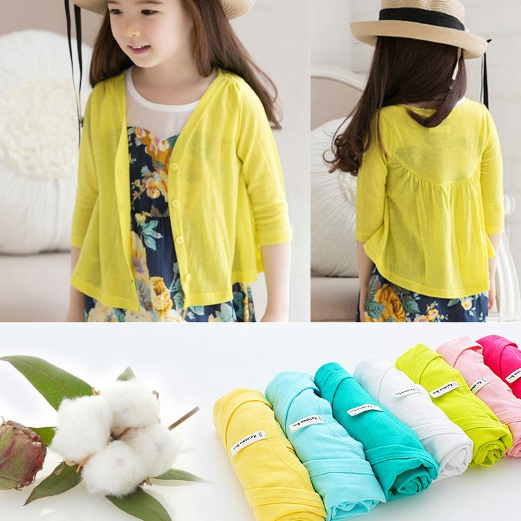Бесплатная доставка Rainbow Bus хлопок девочки наряд ребенок солнцезащитный одежды кондиционер рубашка кардиган хлопок пальто летом и осенью