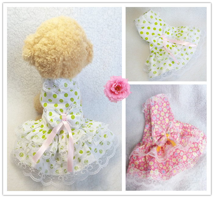 Lace Princess Dress pet dress dog dress Teddy small dog new Floral Cotton Dress in spring and summer