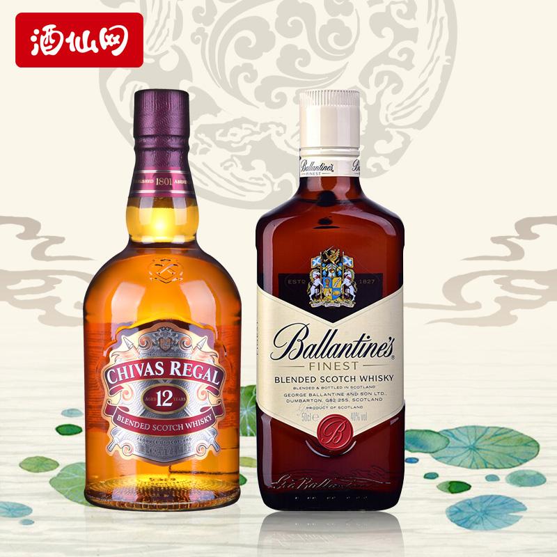 【限时抢】 40度百龄坛特醇威士忌500ml+芝华士12年500ml进口洋酒