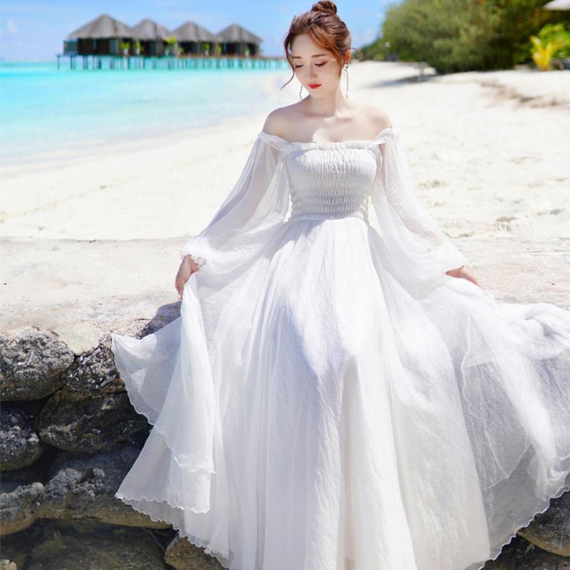 一字领长袖超仙巴厘岛沙滩裙雪纺连衣裙海边度假白色大摆仙女长裙
