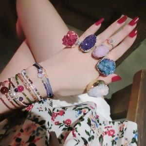 欧美复古天然水晶石头ins时尚个性韩版开口戒指 潮人夸张食指指环