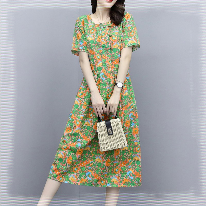 Summer temperament shows thin womens fashion loose large knee length cotton with pocket short sleeve green flower dress