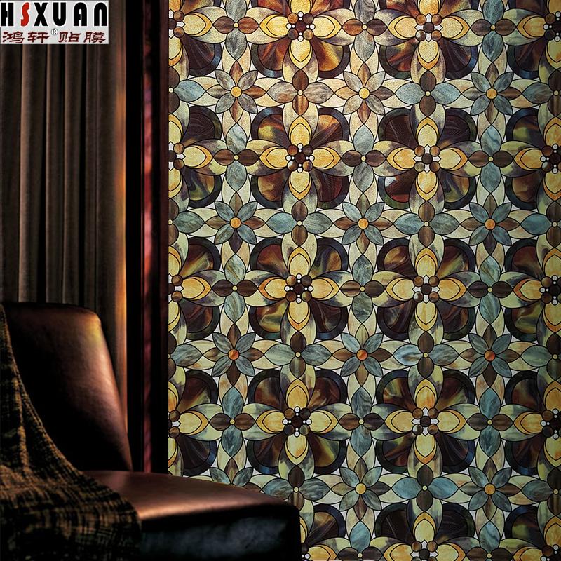 美式卧室窗花纸彩色卫生间玻璃贴纸