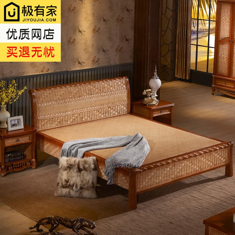 Ротанг дерево двуспальная кровать новый китайский стиль кровать 1.8 mетр в людская кровать спальня полный мебель набор комбинации виноградная лоза мебель