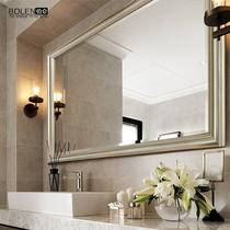 BOLEN 美式奢华浴室镜子欧式简约浴室柜镜子壁挂防水洗手间镜子