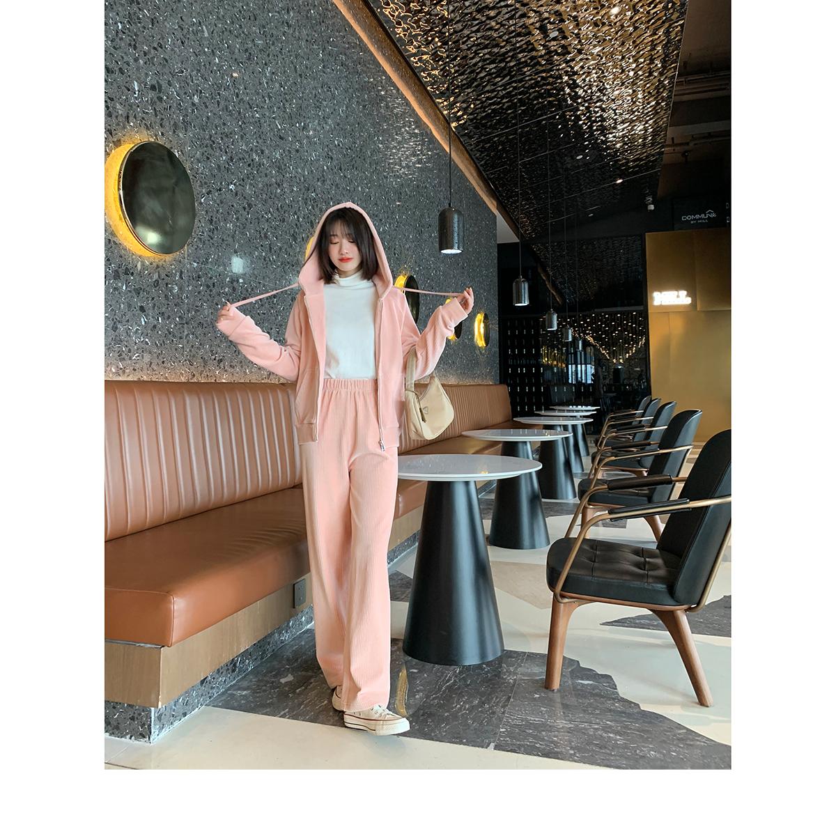 李大米芝芝莓莓套装粉色条纹卫衣