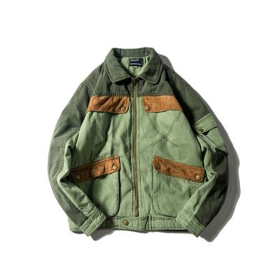 日系复古做旧麂皮绒拼色工装棉衣 F315 F175
