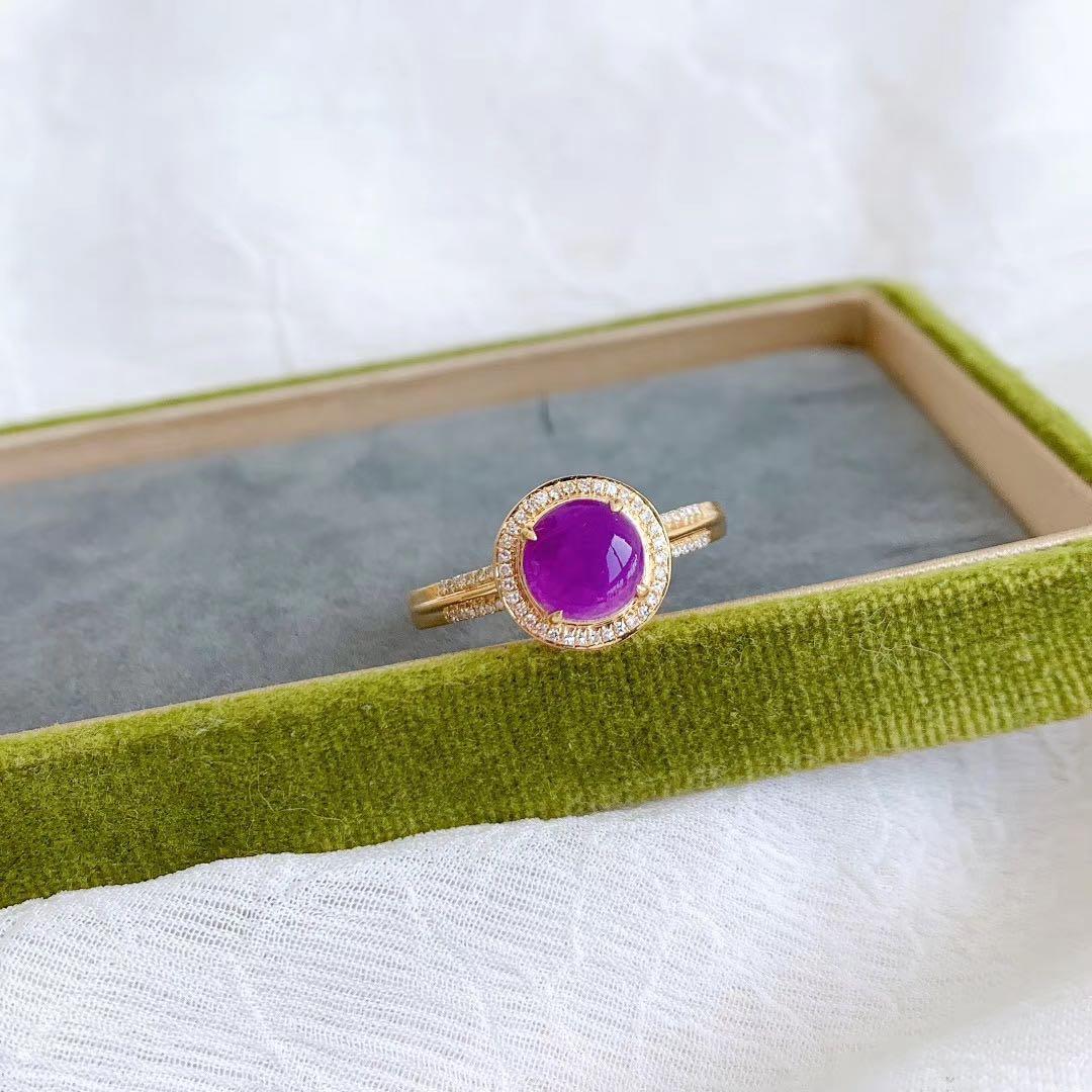 天然舒具来戒指紫红色舒具莱裸石18K金镶嵌天然钻石 裸石 9*9mm