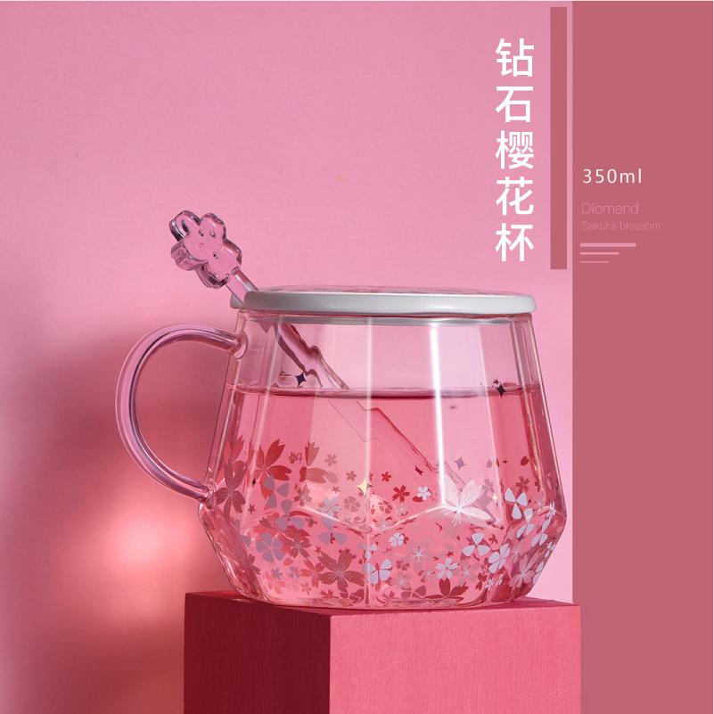 樱花杯子耐热玻璃杯女清新可爱水杯咖啡杯少女办公室ins花茶杯子