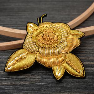 猫猫三手工法式印度丝刺绣玫瑰花胸针女配饰高档别针装饰创意徽章
